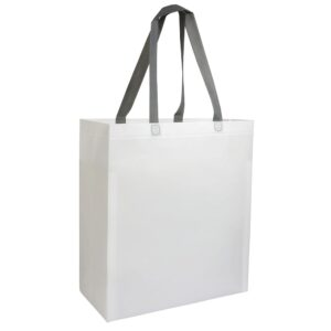 white color laminated non woven bag with long handles