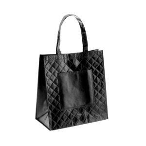 black color laminated non woven bag capitone texture