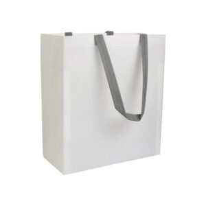 white color laminated non woven bag with long grey color handle
