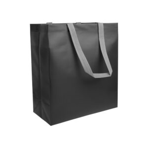black color laminated non woven bag with long grey color handle