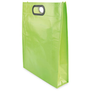 green color laminated non woven bag with d cut handles