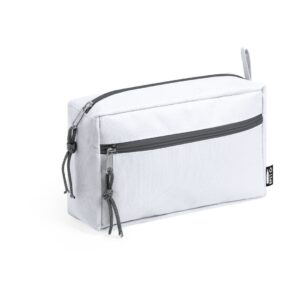 white color beauty bag made from recycled materal two compartments with zipper closure