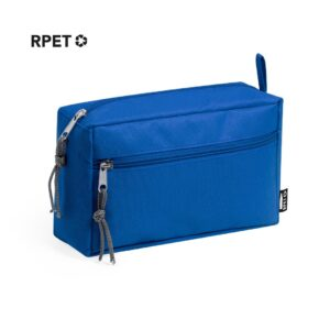 blue color beauty bag made from recycled materal two compartments with zipper closure