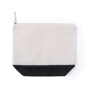 cotton beauty bag in natural color with black color bottom and zipper