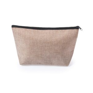 natural color beauty bag made from polyester with black zipper
