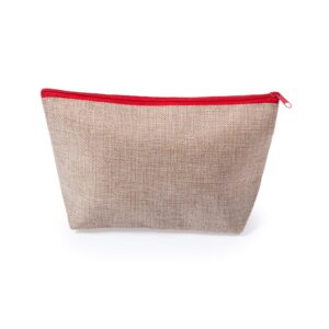 natural color beauty bag made from polyester with red zipper