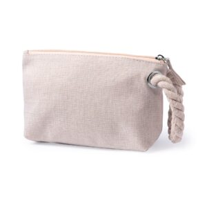natural color beauty bag made from polyester with zipper and handle from rope
