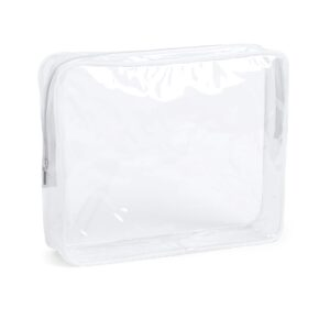 transparent beauty bag with white gusset