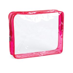 transparent beauty bag with red gusset