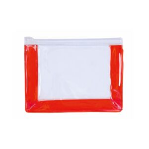 transparent beauty bag with plastic zipper and red gusset
