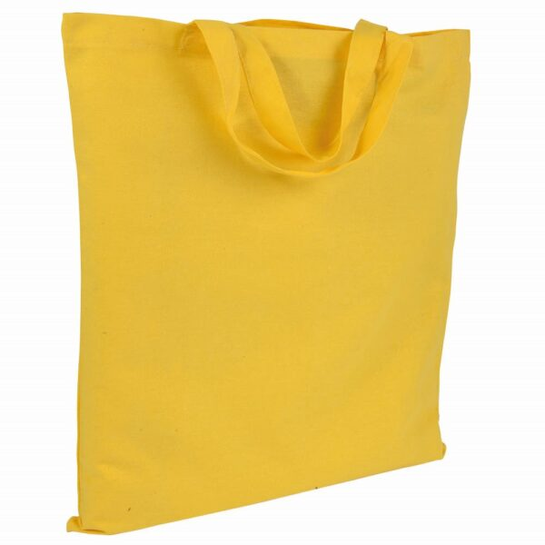 yellow color cotton bag with short handles
