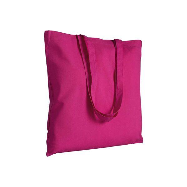 fuchsia color cotton bag with long handles