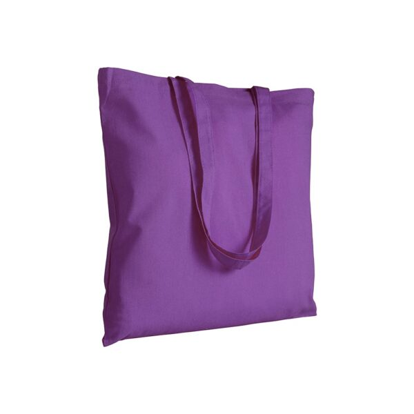 lila color cotton bag with long handles