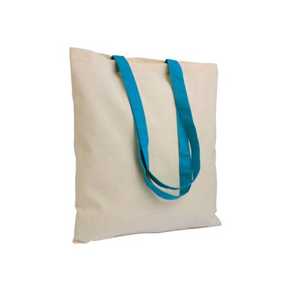light blue clor cotton bag with long handles
