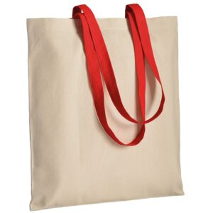 red color cotton bag with long handles