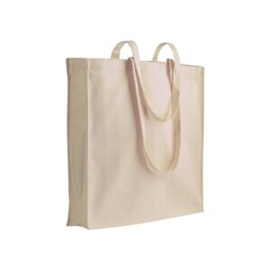 natural color cotton bag with long handles