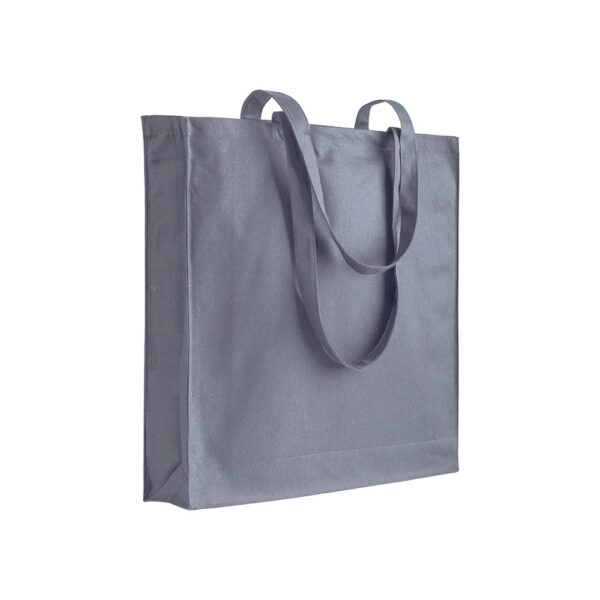 grey color cotton bag with long handles