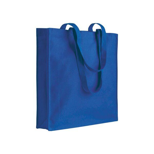 blue color cotton bag with long handles