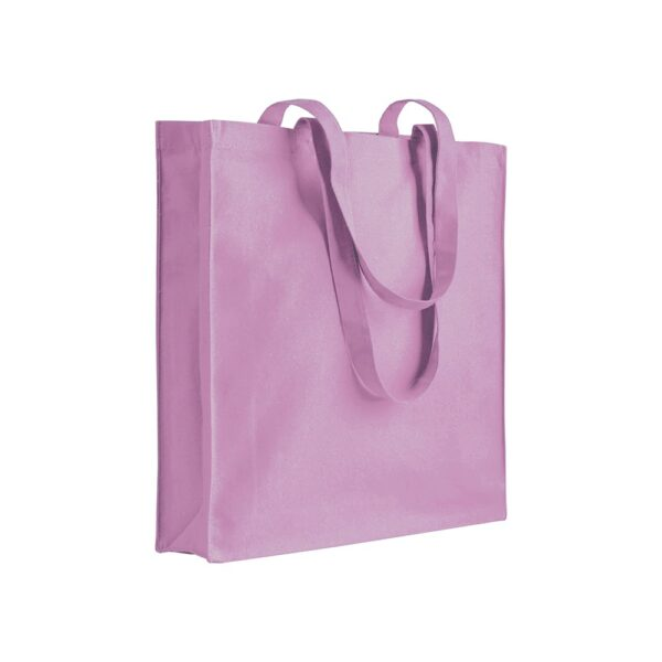 pink color cotton bag with long handles