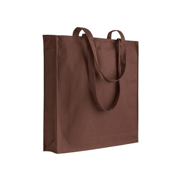 brown color cotton bag with long handles