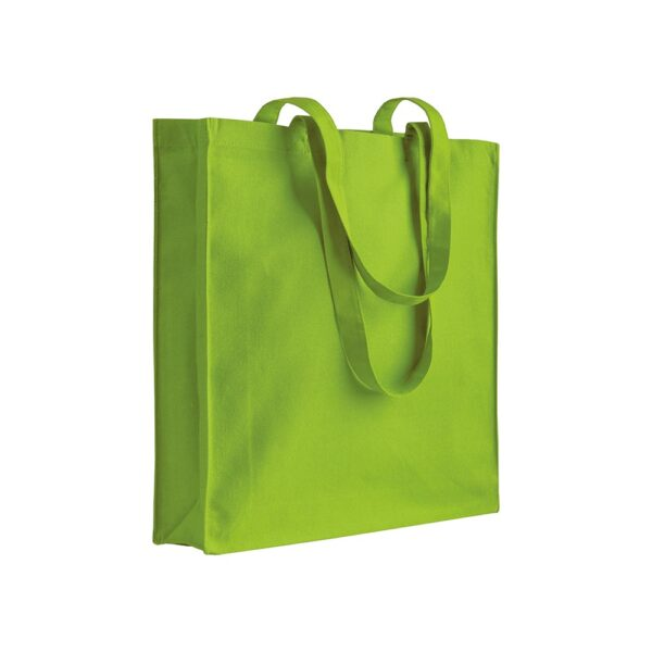 apple green color cotton bag with long handles