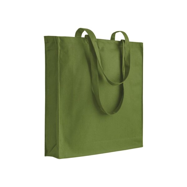 dark green color cotton bag with long handles