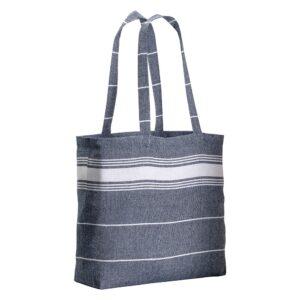 dark blue color cotton bag with long handles