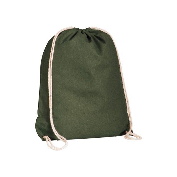 dark green color cotton drawstring bag