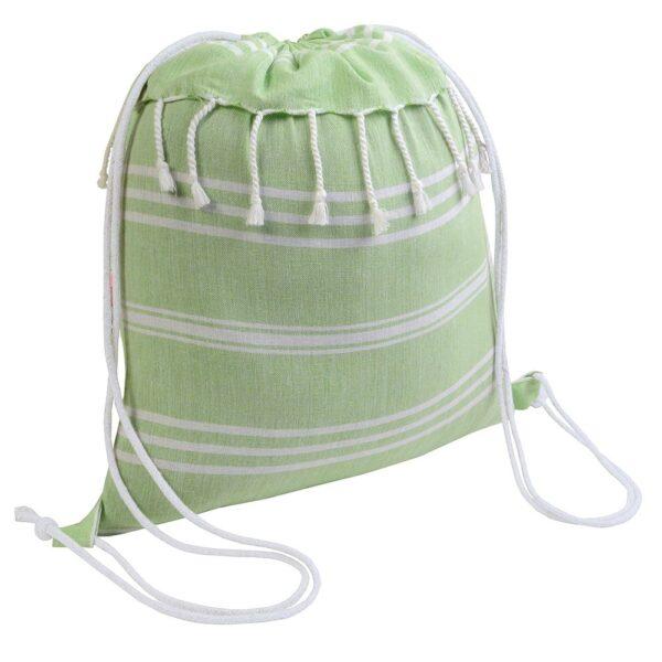 apple green color cotton drawstring bag