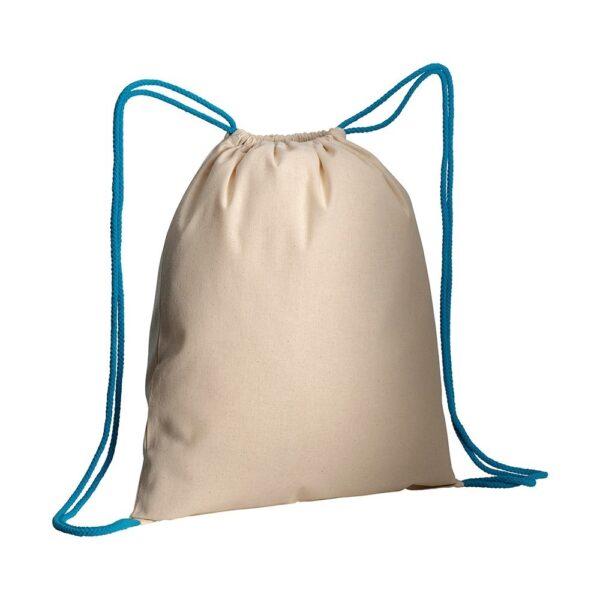 light blue clor cotton drawstring bag
