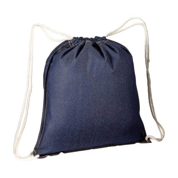 blue jean cotton drawstring bag