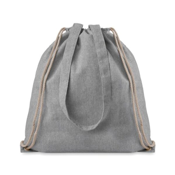 grey color cotton drawstring bag