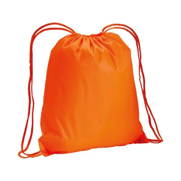 orange color non woven drawstring bag
