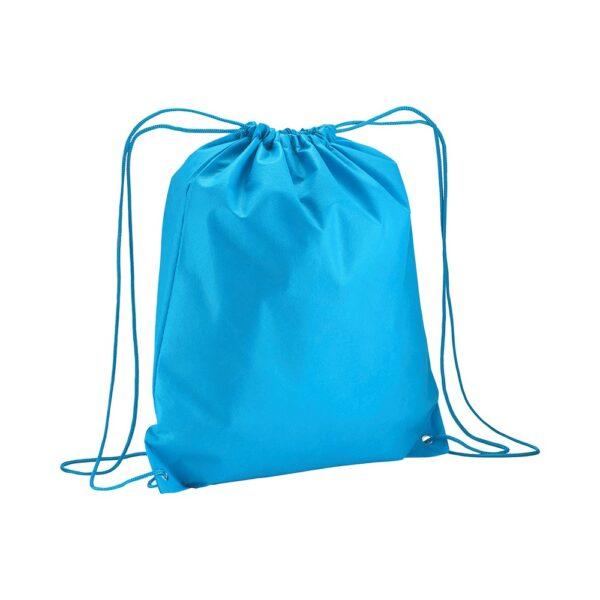 light blue clor non woven drawstring bag