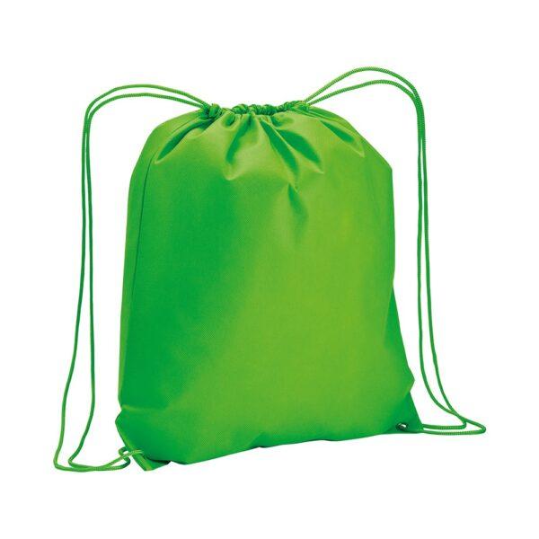 apple green color non woven drawstring bag