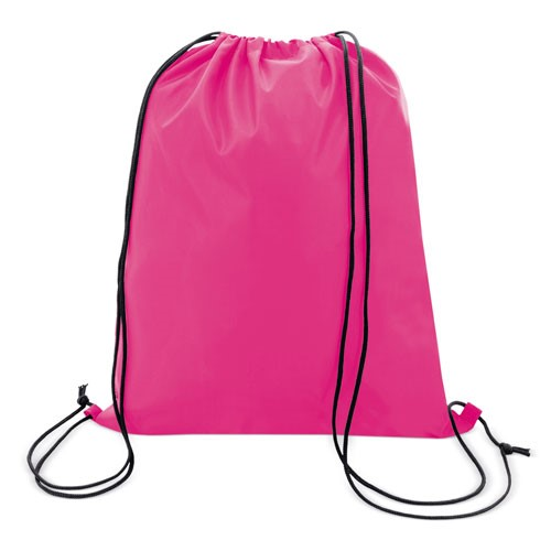 fuchsia color polyester drawstring bag