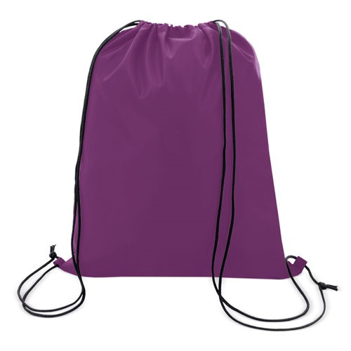 lila color polyester drawstring bag