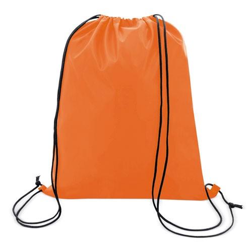 orange color polyester drawstring bag