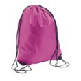 pink color polyester drawstring bag