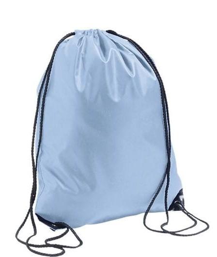 light blue clor polyester drawstring bag