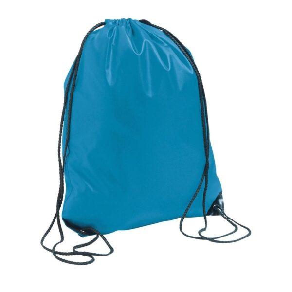 aqua color polyester drawstring bag
