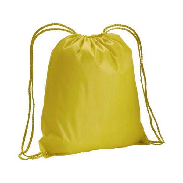 yellow color polyester drawstring bag