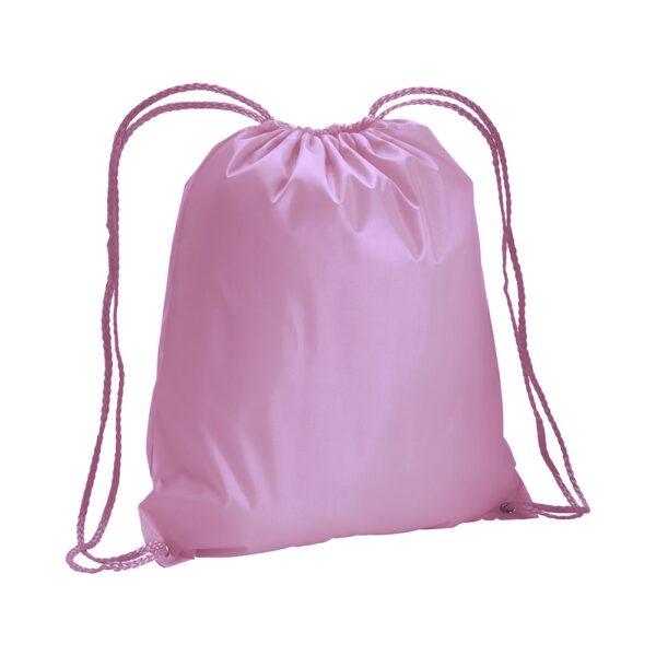 pink color polyester drawstring bag
