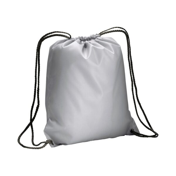 silver color polyester drawstring bag