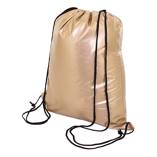 gold color polyester drawstring bag