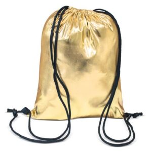gold color polyester drawstring bag