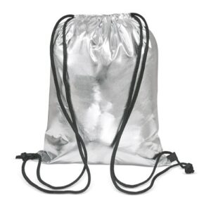 silver color polyester drawstring bag