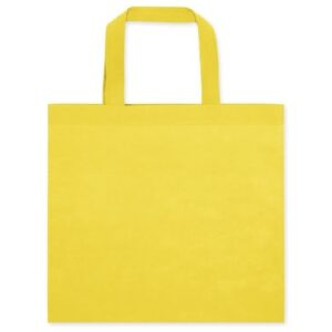 yellow color non woven bag with short handles