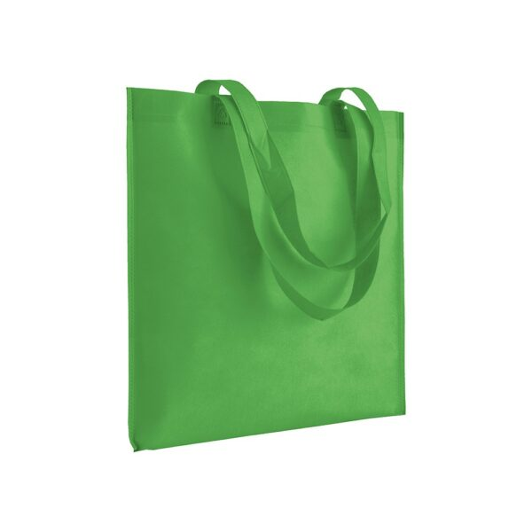 apple green color non woven bag with long handles