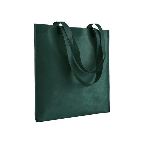 dark green color non woven bag with long handles